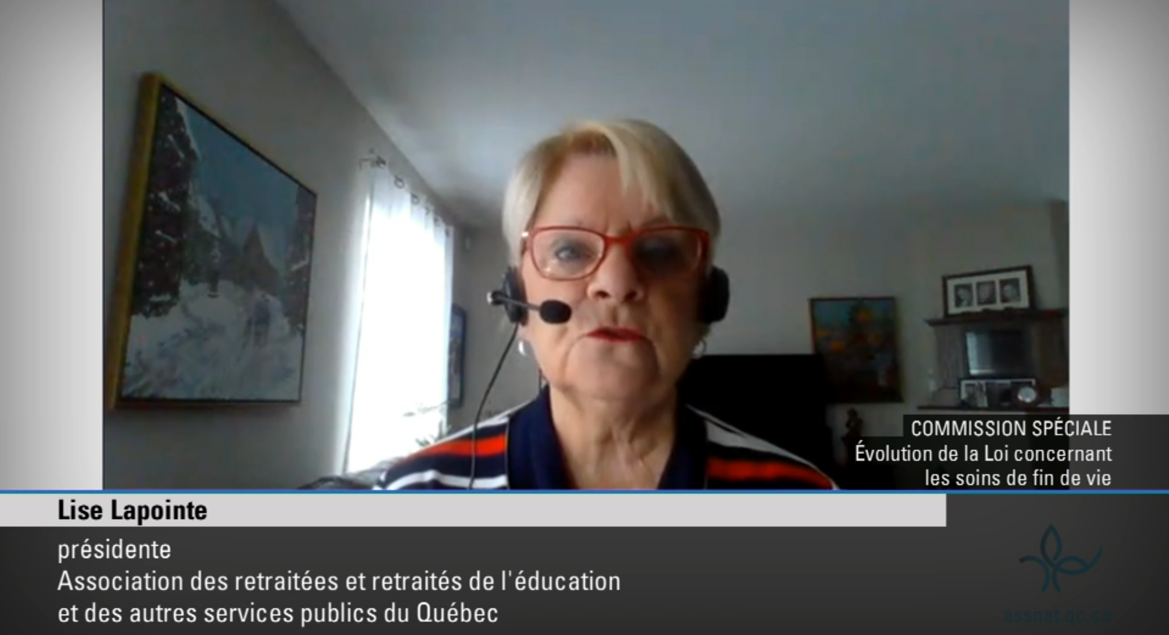L'AREQ présente son mémoire dans le cadre de la Commission spéciale sur l'évolution de la Loi concernant les soins de fin de vie