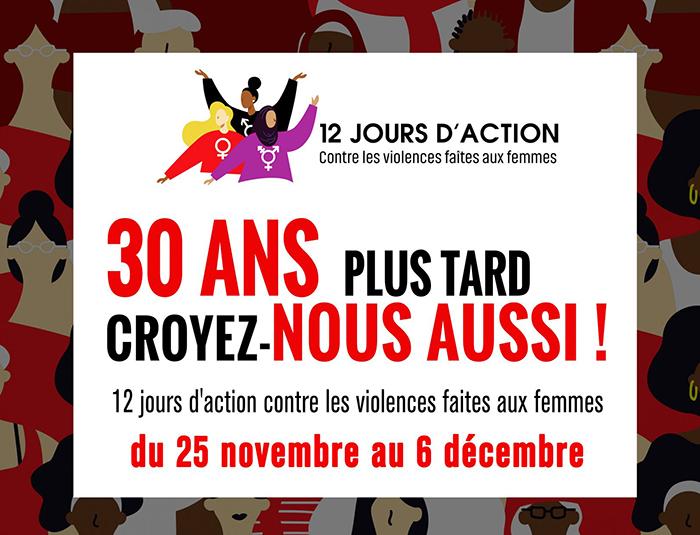 30 ans plus tard, croyez-nous aussi! : nouveau slogan du Comité 12 jours d'action
